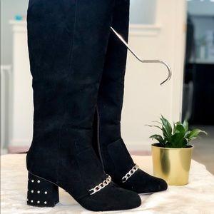 ASOS Black Velvet Boots NWOT